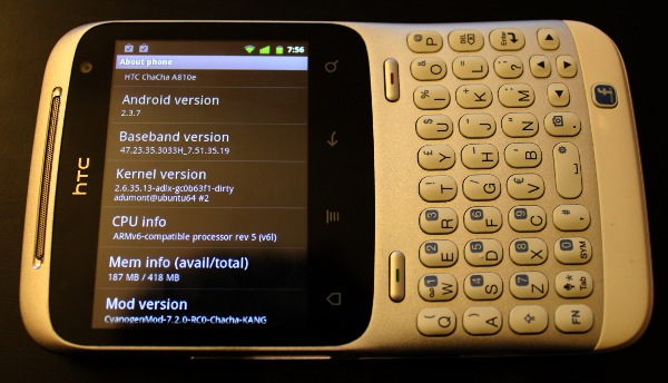 CyanogenMod Details on HTC ChaCha Phone