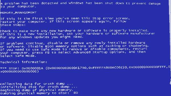 Blue Screen of Death - MEMORY_MANAGEMENT