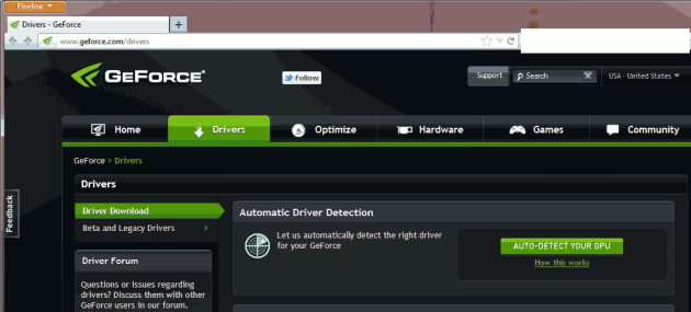 GeForce Website Auto Detect Page