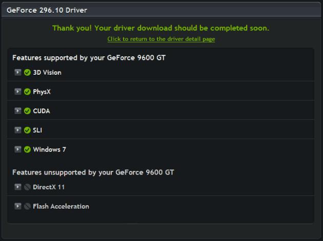 GeForce Website Card Detected Page
