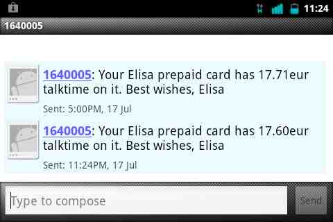 SMS Showing Elisa Account Balance
