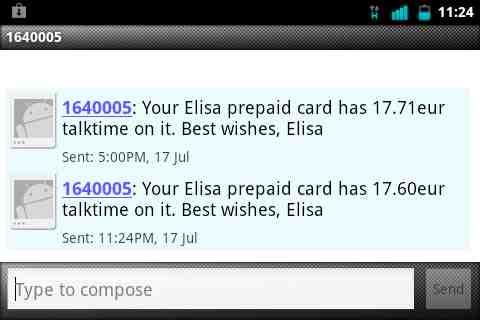 SMS Showing Elisa Account Balance