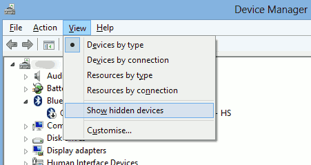 "Select ""Show hidden devices"" from Device Manager menu"