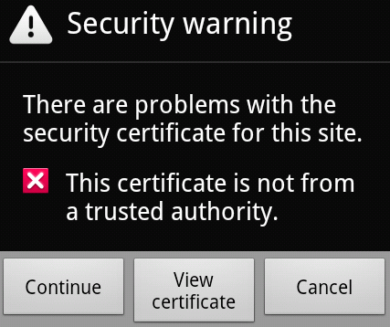 Continue when warned about an invalid HTTPS certificate