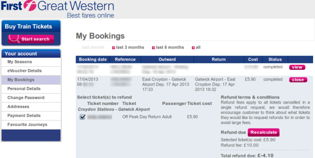 First Great Western Fee For Ticket Refund