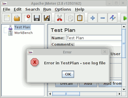 Error in TestPlan - see log file