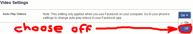 Select off for video autoplay