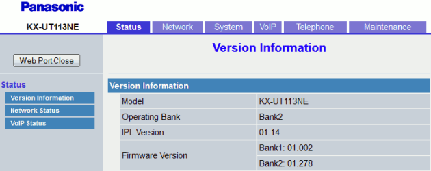 Panasonic KX-UT113 Web Page On First Login