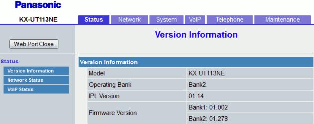 Panasonic KX-UT113 Web Page On First Login