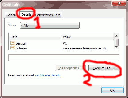 Select the Details tab then choose Copy to File