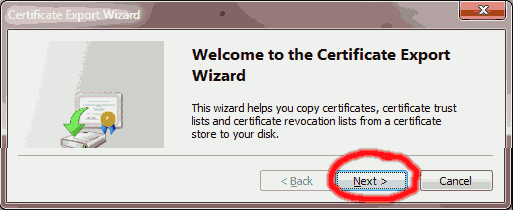Click Next for the Certificate Export Wizard