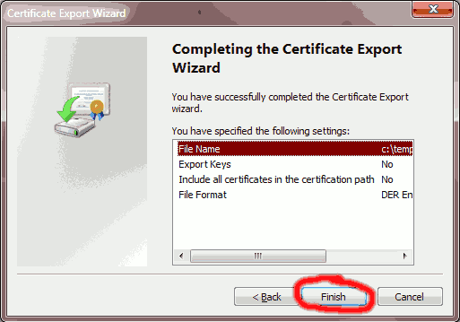 Click Finish completing the Certificate Export Wizard
