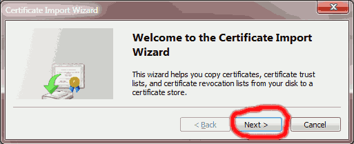 Click Next when shown the Certificate Import Wizard