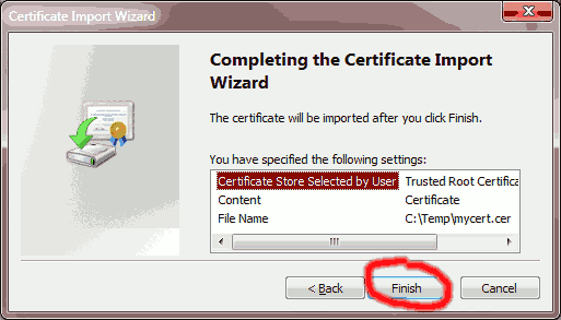 Click to Finish the Certificate Import Wizard