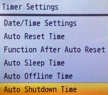 Navigate to Auto Shutdown Time and press OK
