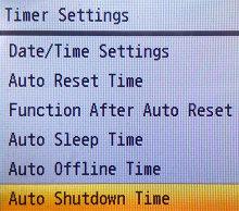 Navigate to Auto Shutdown Time and press OK