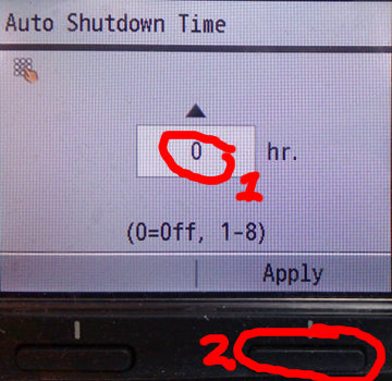 Set the counter to zero and press the button under the Apply label on the screen