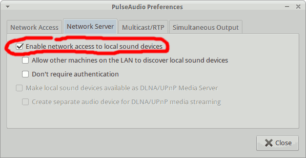 Enable network access to local sound devices