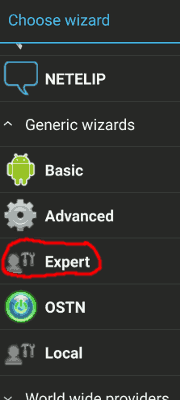 Find and select the Expert wizard in CSipSimple