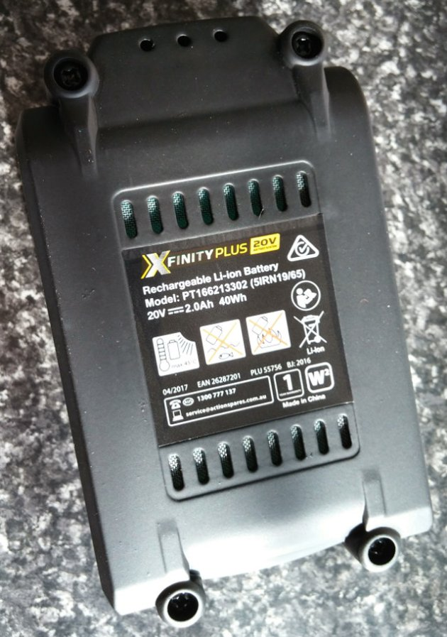 XFinity Plus 20V Li-Ion 2.0AH Battery Bottom View