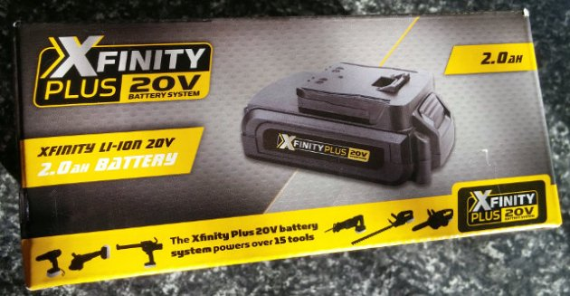 XFinity Plus 20V Li-Ion 2.0AH Battery Box Front View
