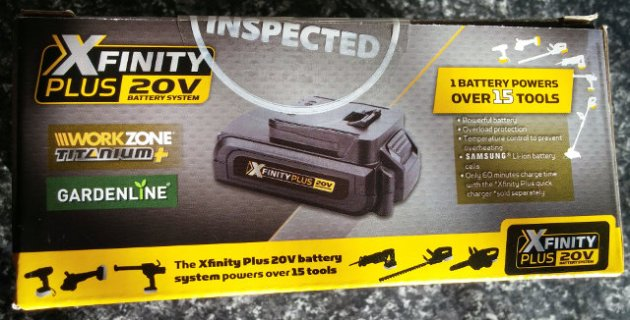 XFinity Plus 20V Li-Ion 2.0AH Battery Box Rear View