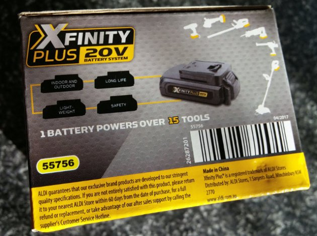 XFinity Plus 20V Li-Ion 2.0AH Battery Box Right View
