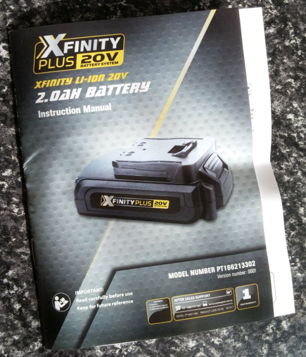 XFinity Plus 20V Li-Ion 2.0AH Battery Manual