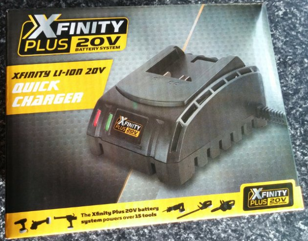 XFinity Plus 20V Li-Ion Quick Charger Box Front View