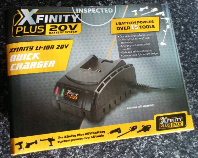 XFinity Plus 20V Li-Ion Quick Charger Box Rear View