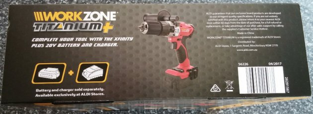 WorkZone Titanium+ XFinity Li-Ion 20V Cordless Hammer Drill Box Left View