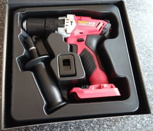 WorkZone Titanium+ XFinity Li-Ion 20V Cordless Hammer Drill Box Opened