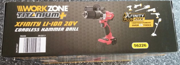 WorkZone Titanium+ XFinity Li-Ion 20V Cordless Hammer Drill Box Rear View