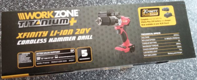WorkZone Titanium+ XFinity Li-Ion 20V Cordless Hammer Drill Box Right View