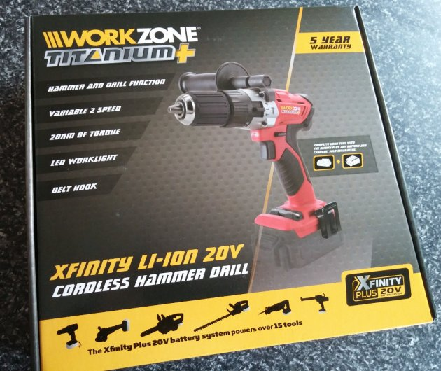 WorkZone Titanium+ XFinity Li-Ion 20V Cordless Hammer Drill Box Top View