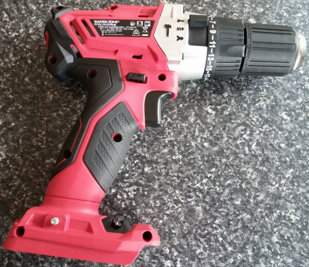 WorkZone Titanium+ XFinity Li-Ion 20V Cordless Hammer Drill Right View