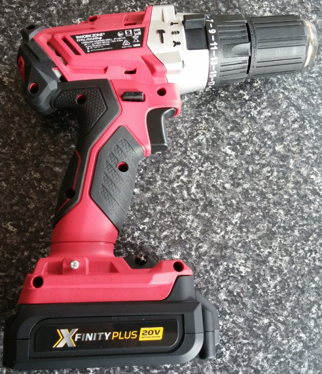 WorkZone Titanium+ XFinity Li-Ion 20V Cordless Hammer Drill With Battery Pack