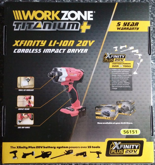 WorkZone Titanium+ XFinity Li-Ion 20V Cordless Impact Driver Box Bottom View