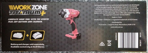 WorkZone Titanium+ XFinity Li-Ion 20V Cordless Impact Driver Box Left View