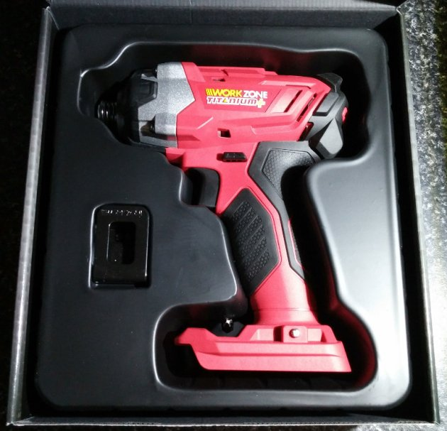 WorkZone Titanium+ XFinity Li-Ion 20V Cordless Impact Driver Box Open View