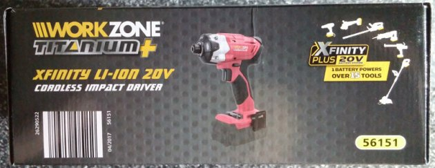 WorkZone Titanium+ XFinity Li-Ion 20V Cordless Impact Driver Box Rear View