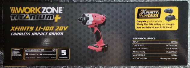 WorkZone Titanium+ XFinity Li-Ion 20V Cordless Impact Driver Box Right View
