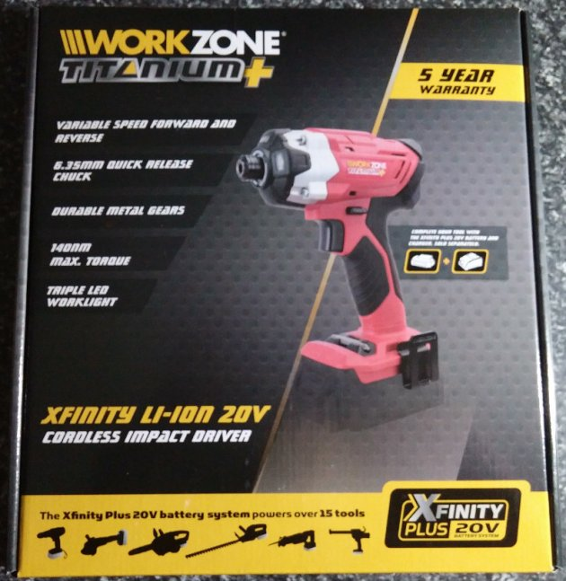 WorkZone Titanium+ XFinity Li-Ion 20V Cordless Impact Driver Box Top View