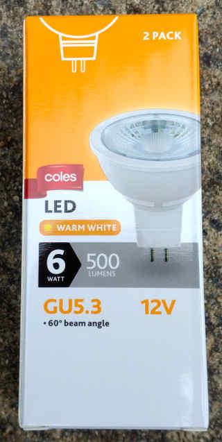 Coles GU5.3 12V 6W 500 lumen bulb 2-pack