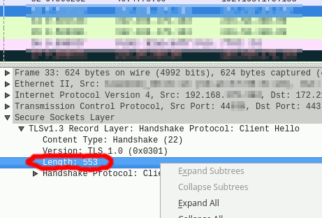 Right-click on desired protocol field in Wireshark